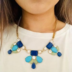 Statement necklace in blues and greens
